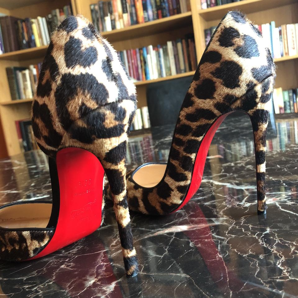 cheap for discount 0c65a 138aa Christian Louboutin Iriza 120 Mm Leopard Ponyhair Half D'orsay Pumps Size  US 8.5 Regular (M, B) 54% off retail