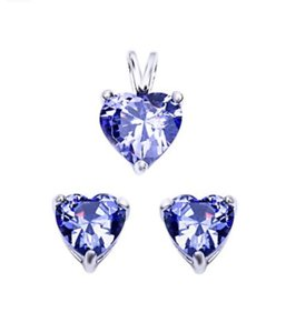 9.2.5 Outstanding royal tanzanite heart pendant and earrings set