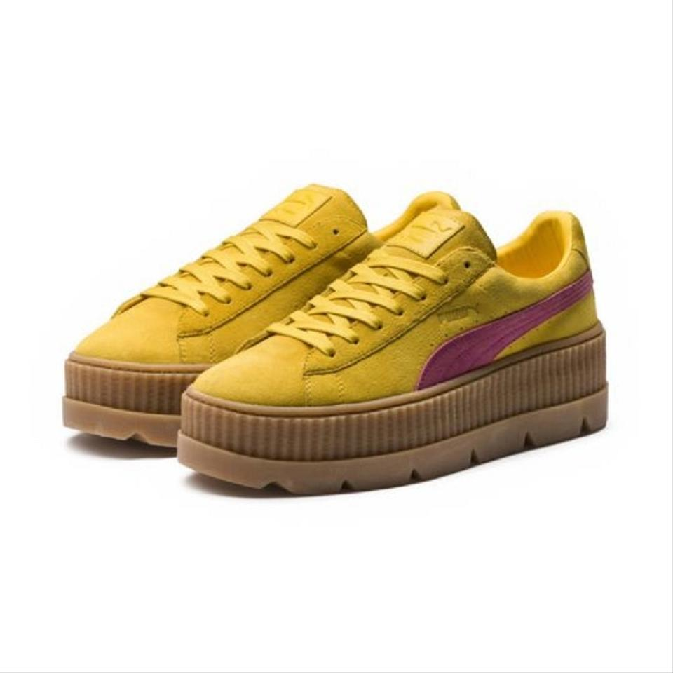 save off 7f4e6 e3afb FENTY PUMA by Rihanna Yellow Pink Suede Cleated Creepers Sneakers Size US 7  Regular (M, B)