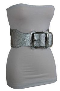 Alwaystyle4you Silver Faux Leather Multi Rhinestone Big Square Buckle Wide Women Belt
