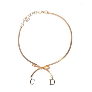 Dior Vintage Gold Choker Bow Necklace