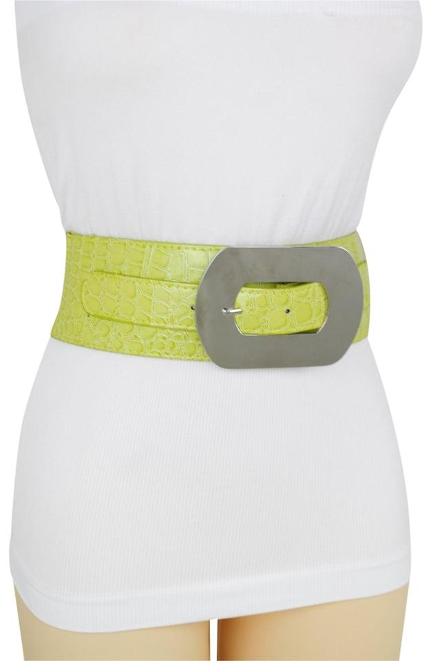 e526732c985 Green Apple Bright Faux Leather Silver Metal Square Buckle Wide Women Belt  61% off retail