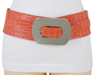 Alwaystyle4you Bright Orange Faux Leather Silver Metal Square Buckle Wide Women Belt