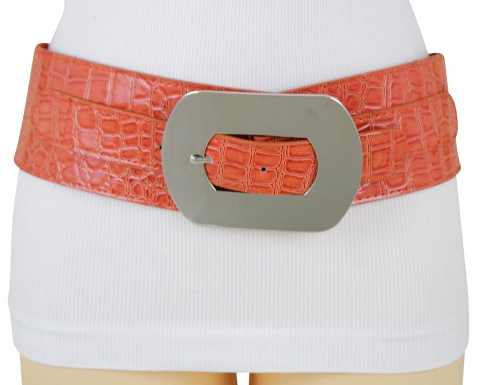 4d3afdb296a Orange Bright Faux Leather Silver Metal Square Buckle Wide Women Belt 60%  off retail