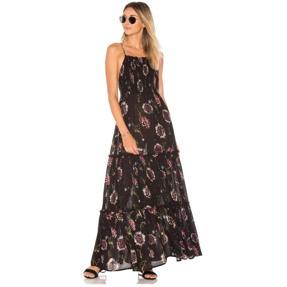 19aa32c38bc Free People Black Floral Garden Party Long Casual Maxi Dress Size 4 ...