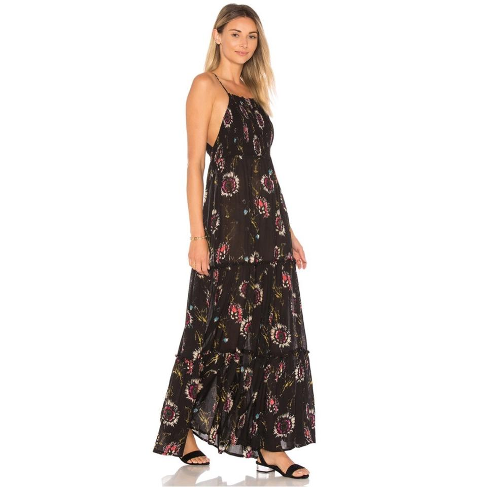 49ef3dfd885 Free People Black Floral Garden Party Long Casual Maxi Dress Size 4 (S)