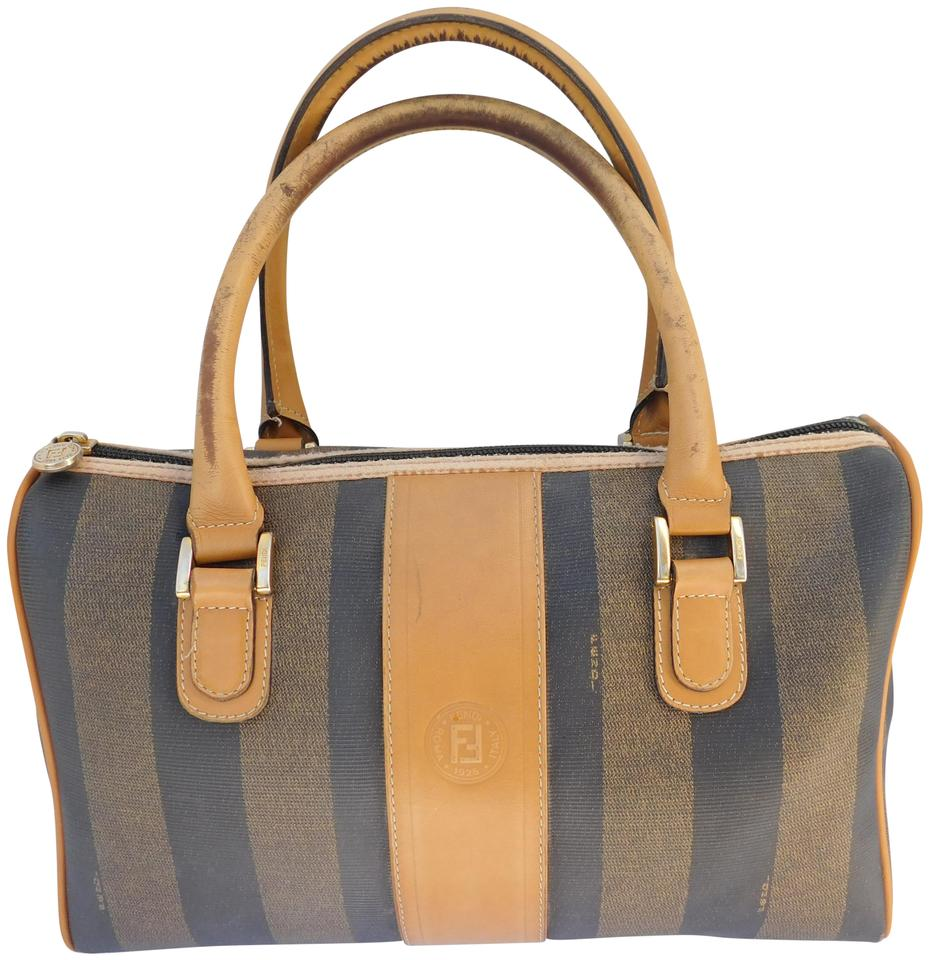 d4f270ef1333 Fendi Boston Doctor Speedy Purse Handbag Tan Striped Canvas Leather Satchel