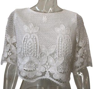 Miguelina Crochet Accented Crop White Top