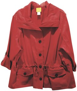 Ruby Rd. Roll-tab Cuffs Button-up Red Jacket