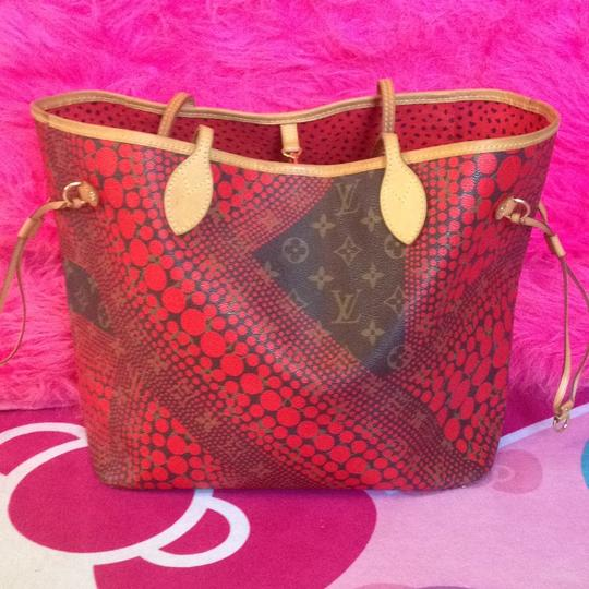 Louis Vuitton Neverfull Rare Sold Out Limited Edition Waves Tote in Red Monogram Image 1
