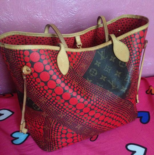 Louis Vuitton Neverfull Rare Sold Out Limited Edition Waves Tote in Red Monogram Image 11