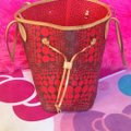Louis Vuitton Neverfull Rare Sold Out Limited Edition Waves Tote in Red Monogram Image 2