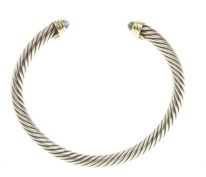 David Yurman Blue Topaz and Gold Cable Classic