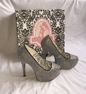 Bordello #burlesque #exclusive #rhinestones Silver Platforms