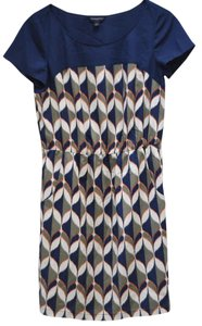 Banana Republic short dress Navy blue, olive green, orange, cream Geometric Print Pockets on Tradesy