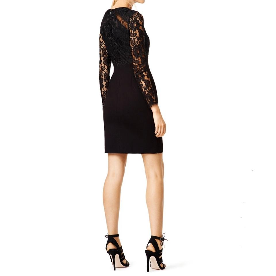 5046dbc2 Monique Lhuillier Black 'zone In' Lace Sheath Mid-length Cocktail Dress  Size 2 (XS) - Tradesy