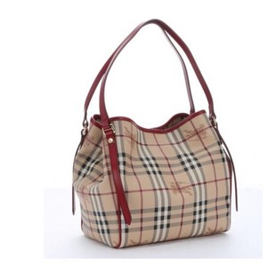 7d1ca81a73e3 Burberry Satchel in red. Burberry Military and Haymarket Canvans Canterbury  Tote ...
