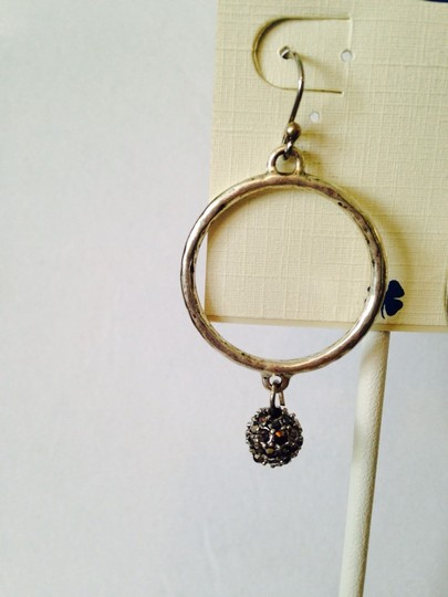 Lucky Brand NWT Silver-Tone Pave' Ball Hoop Earrings