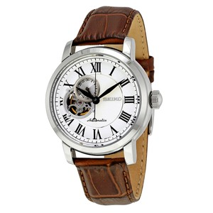 Seiko Automatic 41 mm Brown Leather Strap Silver Cut-Out Dial Men's Watch