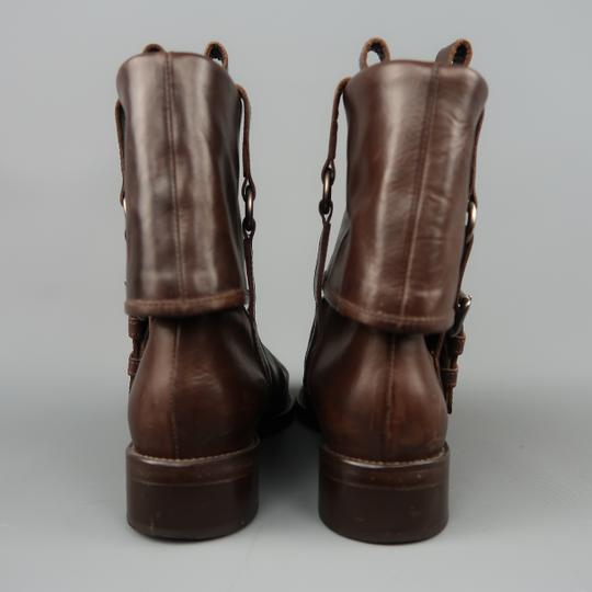 Marni Leather Fold Over Ankle Harness Round Toe Brown Boots