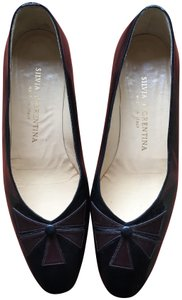 Silvia Fiorentina Leather Bow Design Made In Italy black Pumps