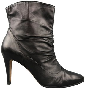 Manolo Blahnik Ruched Leather Ankle Stiletto Pointed Toe Black Boots