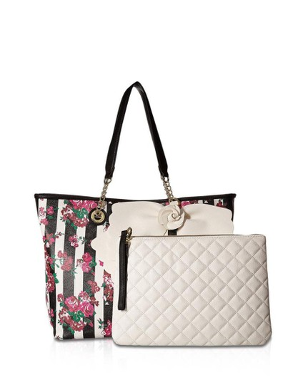 Preload https://img-static.tradesy.com/item/23241914/betsey-johnson-bow-chain-floral-stripe-pink-black-white-faux-leather-tote-0-0-540-540.jpg
