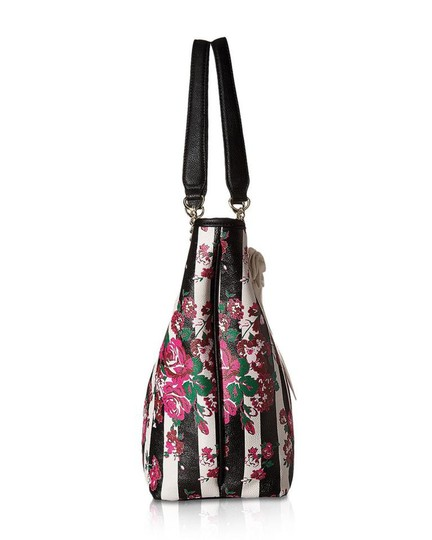 Betsey Johnson Appliques Pouch Multi Color Tote in Pink, Black, White