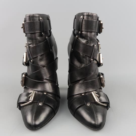 Balmain Buckle Ankle Leather Stiletto Layered Black Boots