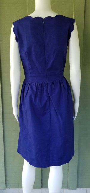 Elizabeth McKay short dress Blue Cotton Blend Scalloped Faux Wrap Textured on Tradesy