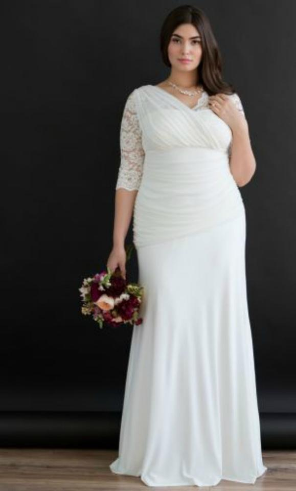 The Last Minute Bride Ivory Lace Jersey Selma Feminine Wedding Dress ...