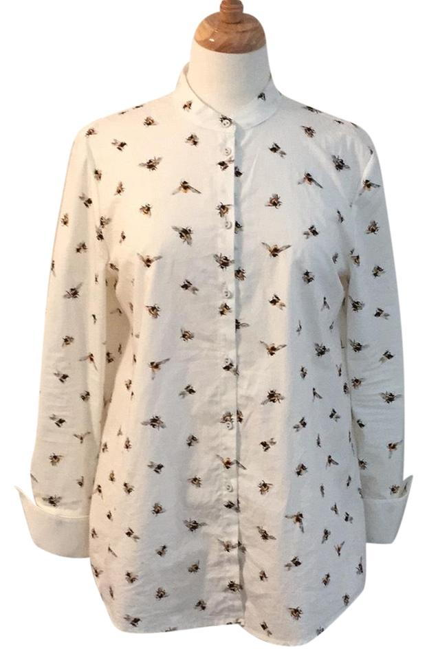 Victoria Beckham for Target Cream Bee Button Up Button-down Top Size 8 (M)  58% off retail