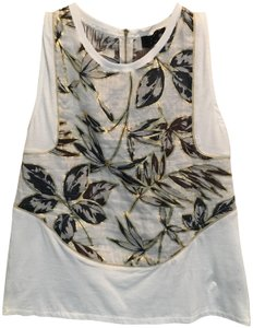 J.Crew Top White with blue and gold leaf pattern