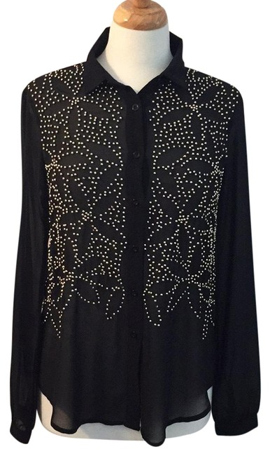 Preload https://img-static.tradesy.com/item/23242151/kiwi-tucker-black-beaded-sheer-blouse-button-down-top-size-4-s-0-1-650-650.jpg