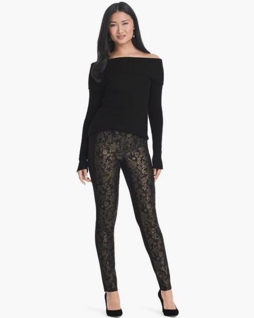 White House | Black Market Holiday Fancy Gold Skinny Pants Black