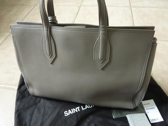 Saint Laurent Leather Logo Italian Classic Tote in Gray