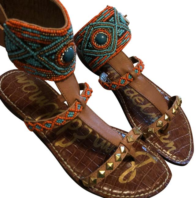 Item - Tan with Orange and Turquoise Sandals Size US 6 Regular (M, B)