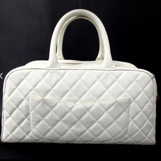 Chanel Bowler Caviar Tote in White