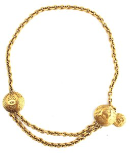 Chanel RARE CC Medallion double gold textured chain necklace belt two way