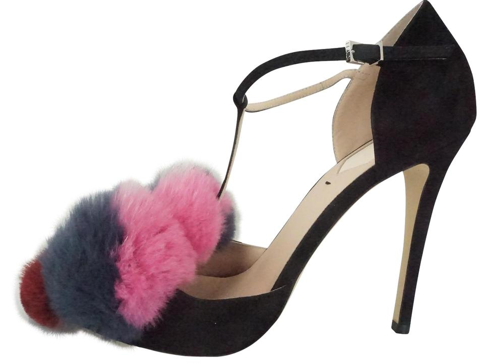 15fd55583bdf Fendi Black Suede Mink Fox Flowerland Fun Fur Pom Puff Ball Pumps ...