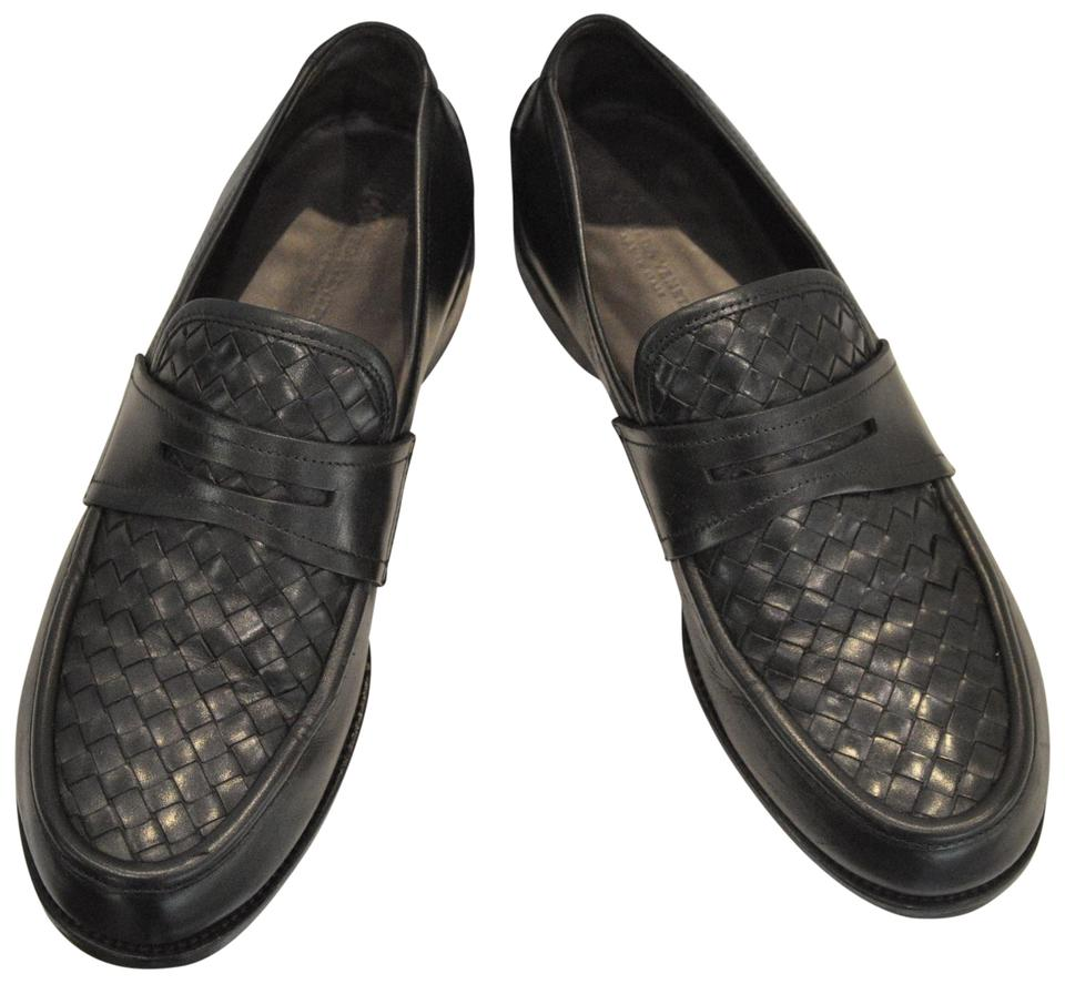 dde3883ea2d Bottega Veneta Black Men 44 Intrecciato Leather Loafers Flats Size ...