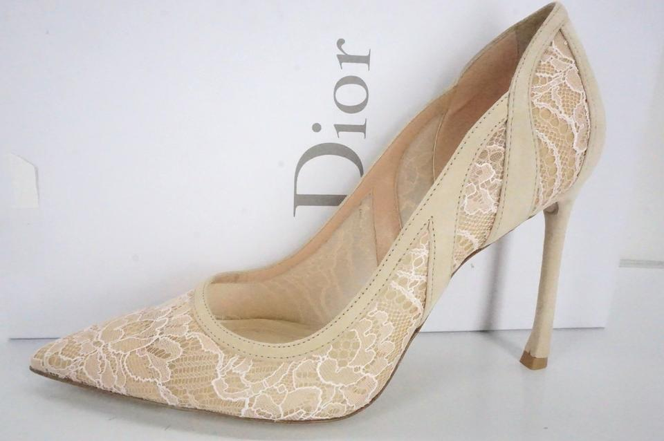 58cf4ac0ab3 Dior Beige Nude Suede Lace Mesh Lingerie Pointy Toe High Pumps Size EU 36 ( Approx. US 6) Regular (M