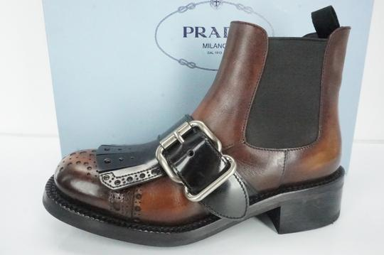 Prada Biker Military Lugg Pull On Antiqued Brown Boots