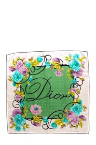 Dior Multicolored Placed Floral Print Silk Scarf