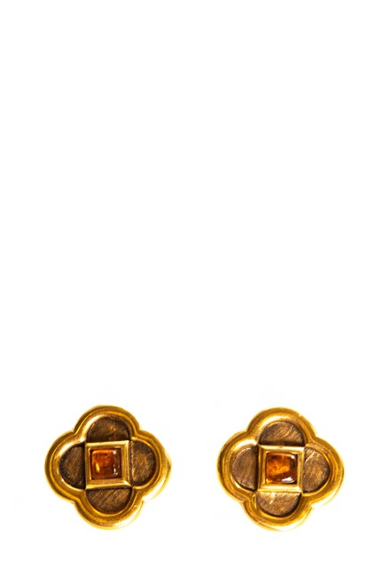 Item - Gold Gold-tone Clip On Grippoix Embellishment Earrings