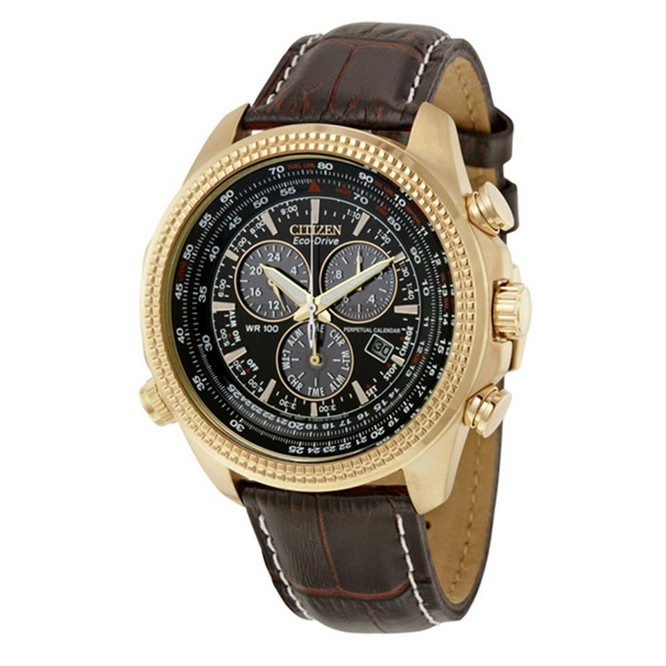 7726fd4bf Citizen Rose Gold Brown Stainless Steel Perpetual Calendar Chronograph Men's  Watch