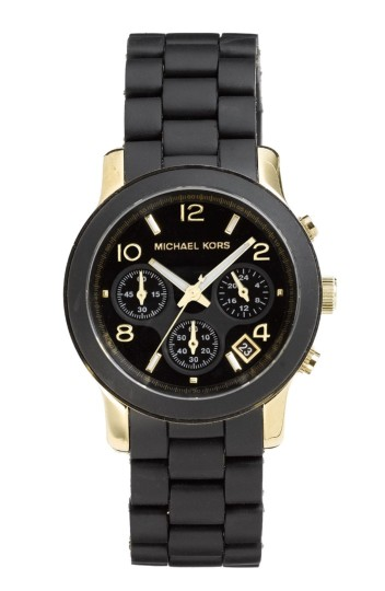 MICHAEL Michael Kors Michael Kors Catwalk Black Womens' Mk5191 Silicone Chronograph Watch