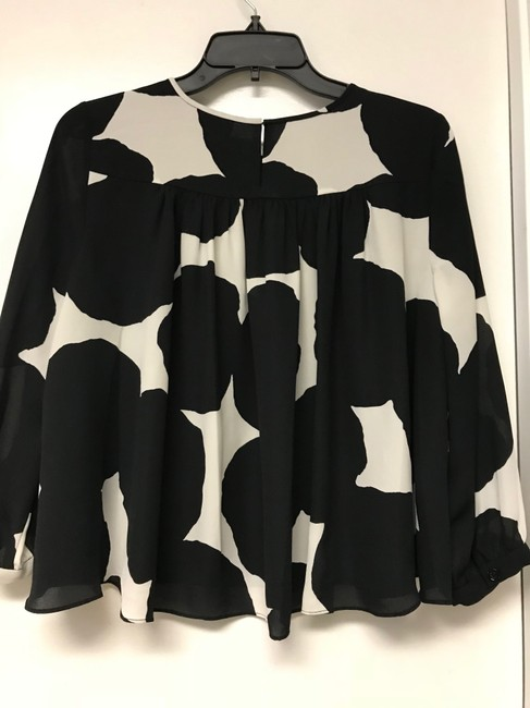 Kate Spade Black/White Lined Crop Top Black & White