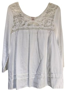Sundance Cotton Crochet Ribbon Top white