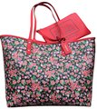 Coach Coated Canvas Pouch Large Floral Reversible Tote in Red